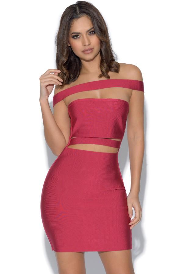 Kylie Pink Cut Out Bandage Dress