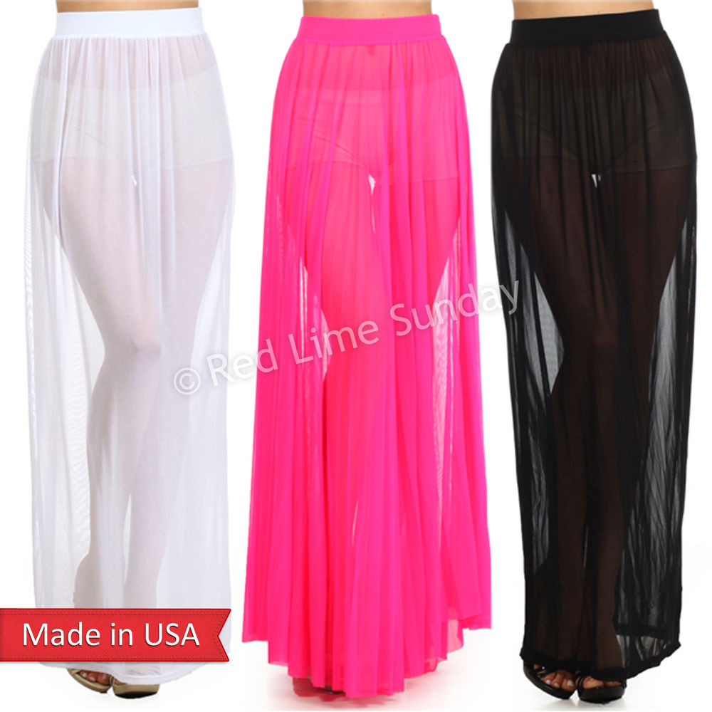ea3c21281 New Women Trendy Fashion Fitted Sexy Sheer Mesh See Through Long Maxi Skirt  USA