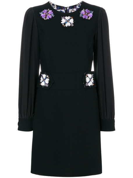 dress mini dress mini long women embellished black silk wool