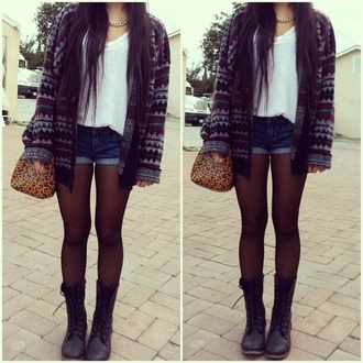 top tights boots shorts denim white blue cardigan bag sweater jewels shoes denim shorts necklace jacket seater black tumbrl outfits tumblr fall outfits fall sweater cute nuetral combat boots hipster aztec heavy knit jumper urban swag grunge vintage indie summer spring casual trendy cool boho girly classy back to school