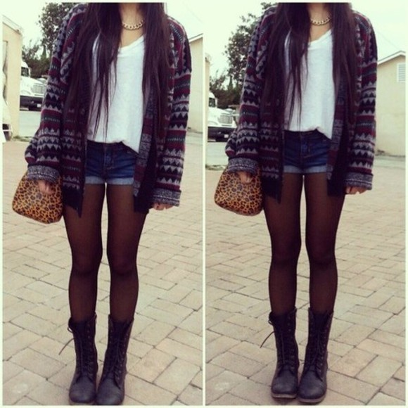 sweater cardigan shirt tribal sheer tights aztec denim shorts combat boots shoes pants jewels b jacket aztec print coat oversized cardigan shorts white white tank top sheer stockings leopard print bag clothes hipster outfit knit sweater tank top leather boots boots tights denim white tank jackets baggy tshirt blouse hipsters all cute outfits tanktop