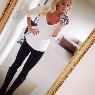 blouse white wrap wrap blouse blonde hair v neck
