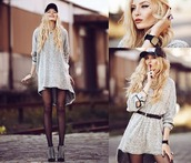 dress,sweater,grunge,long sleeves,long,grey,style