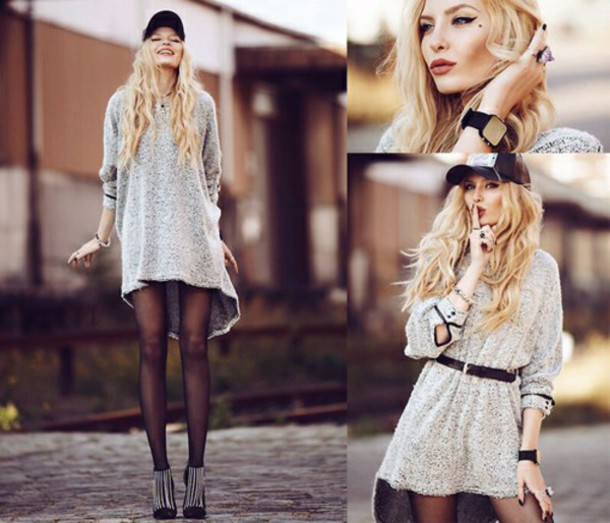 dress sweater grunge long sleeves long grey style