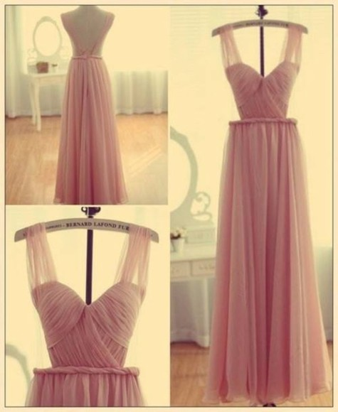 dress prom formal elegant peach pink pink dress maxi dress night night dress clothes nude chiffon chic prom dress cute wedding lovely fashion large open back beautiful bernard lafond chiffon dress important beautiful dress weheartit long prom dresses long sleeve dress backless dress backless pretty night gown