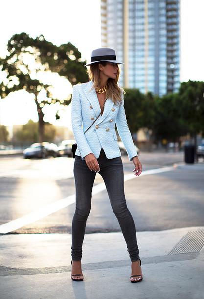 jacket bag shoes chanel blazer sky blue smart elegant stylish fashion blue sweater coat pastel balmain