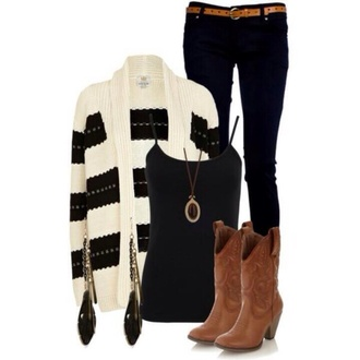 sweater shoes cardigan stripes cowgirl boots long necklace long earrings skinny jeans white sweater blouse