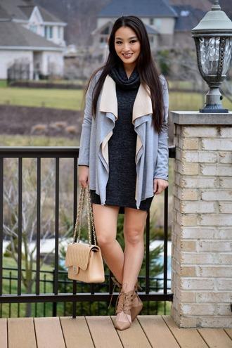 sensible stylista blogger bag shoes dress cardigan