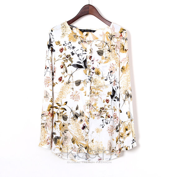 Blouse Floral Print Pocket T1378 Chiffon Blouse Chiffon Top Casual Women Summer Formal Sheer Lace B on Luulla