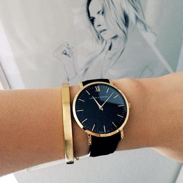 black watch black and gold watch minimalist minimalist jewelry classic classy holiday gift larsson and jennings all black and gold wishlist gold watch women watches jewels black quartz leather strap