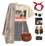 skirt,striped skirt,stripes,t-shirt,the smiths,outfit,band t-shirt,polyvore,cardigan,retro,punk rock,vintage,sandals,flat sandals,black sandals,classic,leather bag,crossbody bag,satchel bag,american apparel,bandana,hair accessory,black sunglasses,topshop,photography,camera,vogue,tumblr