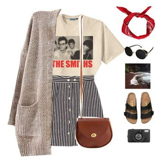 skirt striped skirt stripes t-shirt the smiths outfit band t-shirt polyvore cardigan retro punk rock vintage sandals flat sandals black sandals classic leather bag crossbody bag satchel bag american apparel bandana hair accessory black sunglasses topshop photography camera vogue tumblr