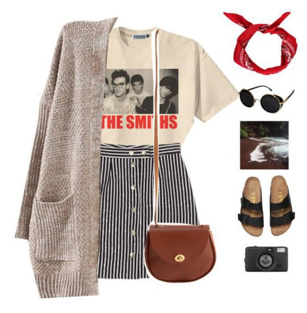 Skirt striped skirt stripes t shirt the smiths outfit for Fashion for home uk