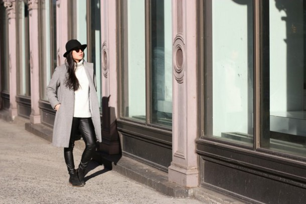 oh so katieli blogger coat leather pants sweater shoes hat sunglasses