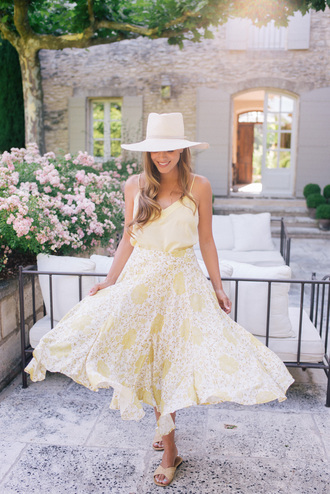 top skirt tumblr camisole midi skirt yellow yellow skirt floral sandals slide shoes hat shoes
