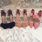 shoes,girly,heels,high heel sandals,clueless,party shoes,pom poms,pink heels,nude heels,black heels,fluffy heels,furry heels,fuzzy heels,high heels,pink,nude,black,lace up heels,fashion,trendy