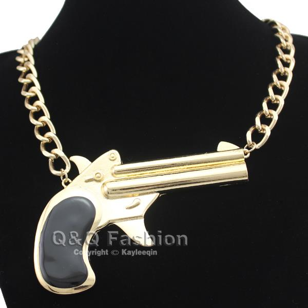 Celeb Gold Big Gun Pistol Black Enamel Statement Curb Chain Collar Bib Necklace | eBay