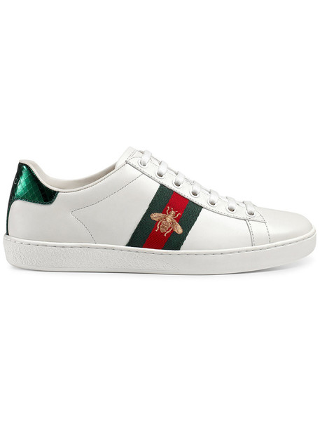 gucci embroidered women leather white shoes