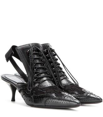 heel pumps lace leather black shoes