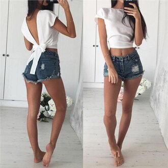 top ogvibes white girly denim high waisted shorts summer fashion trendy cute crop tops instagram girl girly wishlist crop cropped bow casual chic white crop tops