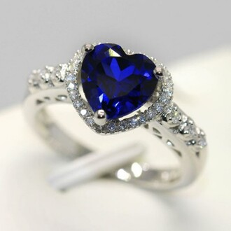jewels heart jewelry blue heart shaped ring blue diamond ring wedding ring engagement ring shining s925 heart ring with sapphire