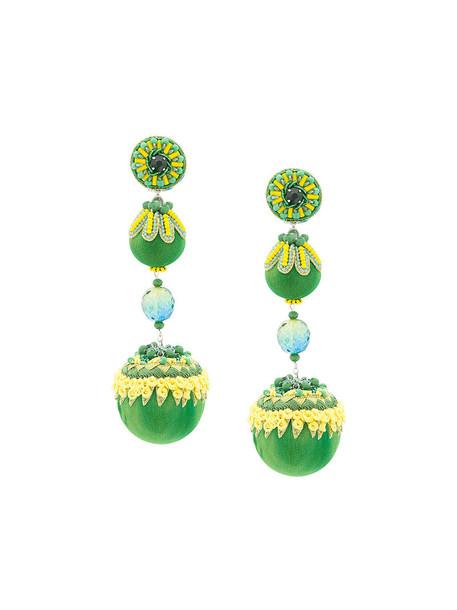 women earrings leather silk green jewels