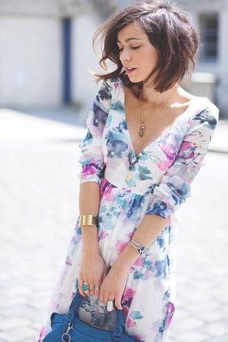 dress pretty colorful long dress watercolor print dress pink white lavender blue