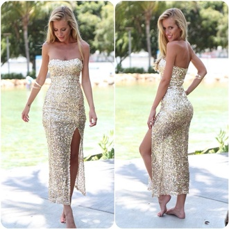 dress cream long dress slit dress cream dress bustier dress rhinestones dress midi dress gold dress long prom dress sexy dress style sexy party dresses prom dress fashion cute dress