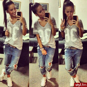 t-shirt,grey,36,girl,shirt,jeans,spiked,scarves,boyfriend jeans,india westbrooks