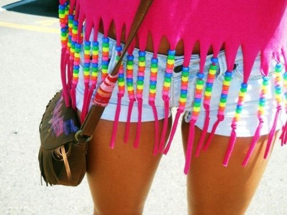 racerback shirt pink shorts beads rainbow beads purse clothes