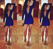 dress,plunge v neck,low cut,blue dress,homecoming,short dress,v neck dress,prom,prom dress,short prom dress,bodycon,bodycon dress,sexy dress,sexy,clubwear,bad af,bad,cute,Shear bodycon dresses