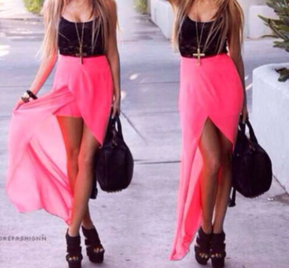 skirt top black top crop tops shoes bag dress black pink girl fasion beautiful pretty long short lace fasionable want pink skirt black heels black shoes black high heels fasionable hot pink
