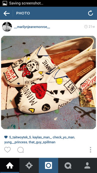 shoes toms white red minnie mouse
