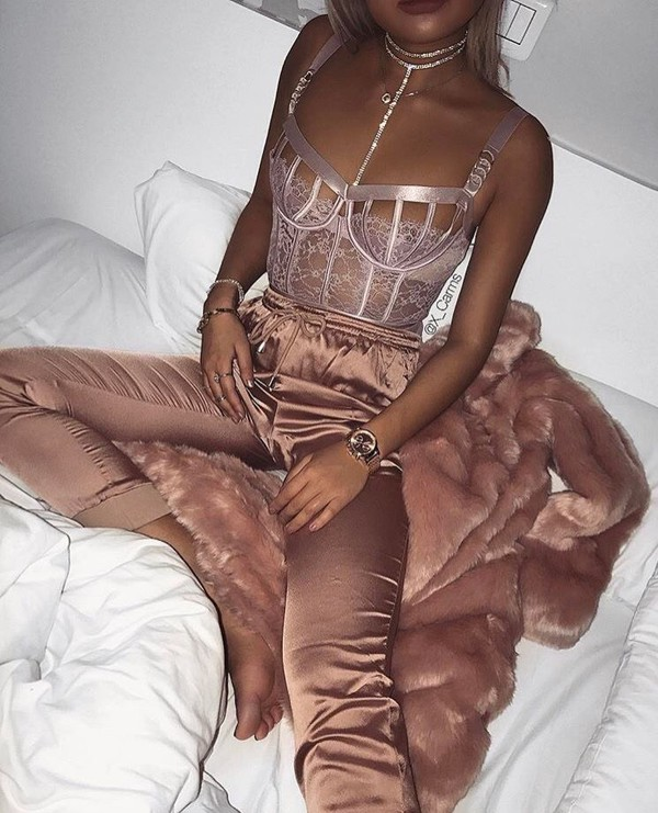 top bottoms pants heels sexy rose gold lingerie jewels jewelry high heels cute outfits cute top cute high heels tumblr outfit pink pinterest jacket