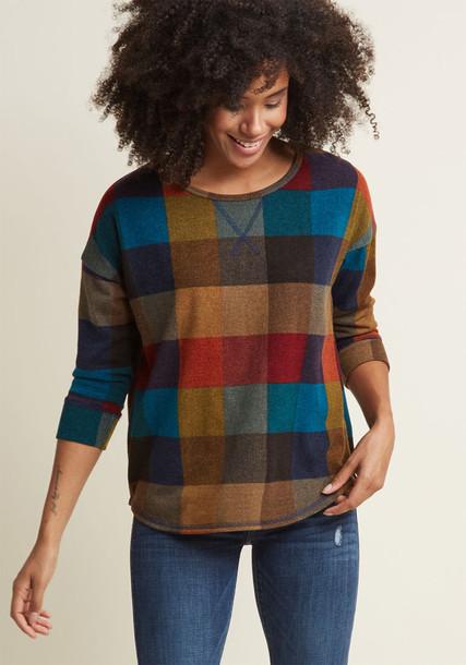 Modcloth top warm plaid knit