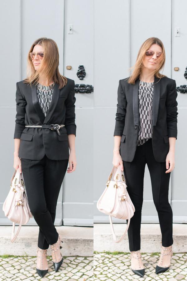 the working girl blouse t-shirt jacket pants bag shoes jewels belt sunglasses