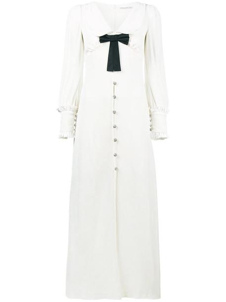 Alessandra Rich dress velvet dress women spandex layered white silk velvet