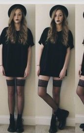 europa,dress,grunge,black,hat,socks,t-shirt,shoes,black shirt dress,shirt,black dress,grunge dress,tights,t-shirt dress