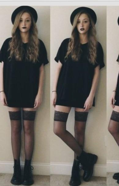 europa dress grunge black hat socks t-shirt shoes black shirt dress shirt black dress grunge dress tights t-shirt dress