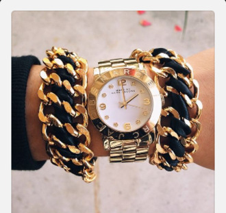 jewels watch gold chunky chain jewelry cute