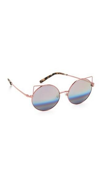 rainbow metal sunglasses silver peach