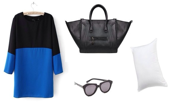 dress color block dress bag sunglasses pillow