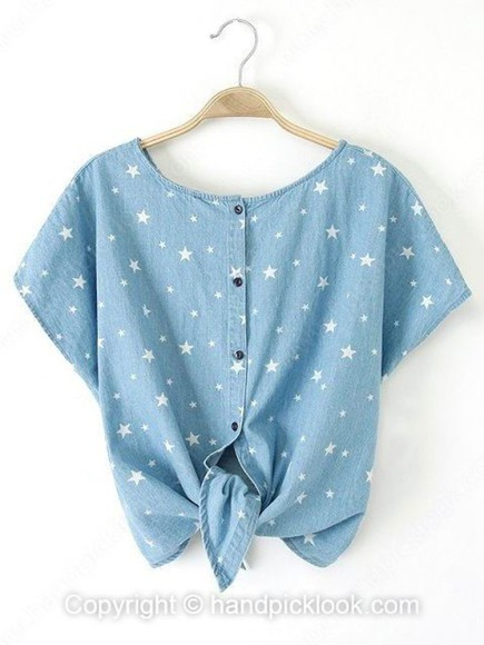stars top denim top star print short sleeve top crop tops denim jacket hipster handpicklook.com