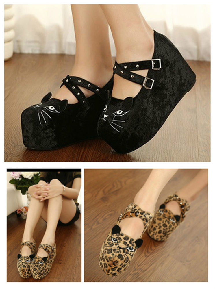 Xmas gift women cat head face platform wedge heel shoes punk creepers thick shoe