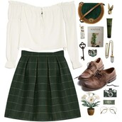 skirt,top,plaid skirt,check skirt,tartan skirt,tartan,plaid,check,checkered,white,green,dark,indie,boho,brouges,brogue shoes,blouse,shirt,college,polyvore,vintage,school uniform,school girl,back to school