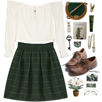 skirt top plaid skirt check skirt tartan skirt tartan plaid check checkered white green dark indie boho brouges brogue shoes blouse shirt college polyvore vintage school uniform school girl back to school