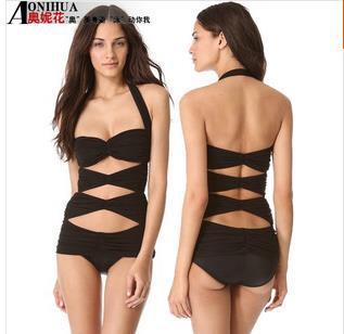 2014 new sexy women's black one piece cut out monokini swimsuit paded halter bikini swimwear hollow out bikinis swiming suit