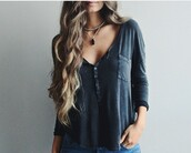 top,grey top,button,3/4 sleeves,blouse,grey,henley,pocket t-shirt,shirt,black blouse,black t-shirt,grey t-shirt,charcoal,buttoned,t-shirt,fashion,casual,long sleeves,trendy,cool,cute shirt,sexy shirt,long sleeve shirt,cute,fall outfits,fall sweater,fall shirt,fall colors,blue,bottom,sleeve,tumblr
