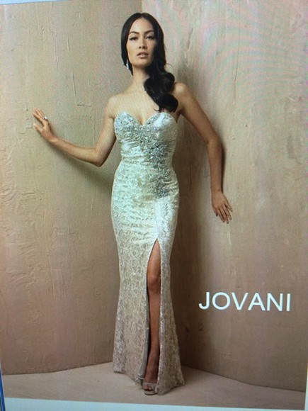 dress jovani dress gold straples