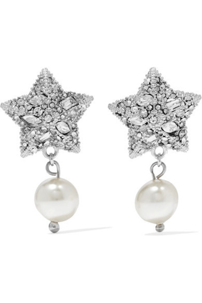 Miu Miu - Silver-tone Crystal And Faux Pearl Earrings - one size
